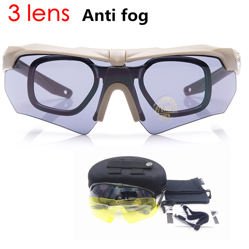 Anti fog 3 Lens Cycling glasses Tactics goggles Ballistic Military Sport Men Sunglasses Army Bullet proof Eyewear shooting|Cycling Eyewear| |  - title=