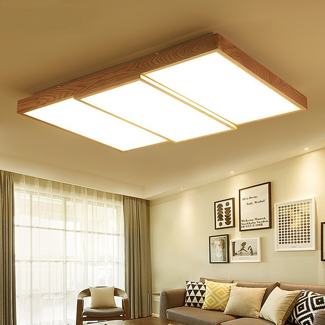 nordic stil kronleuchter japanischen stil massivholz wohnzimmer schlafzimmer decken rechteck led lichtkuppel m - Wohnzimmer Japanischer Stil