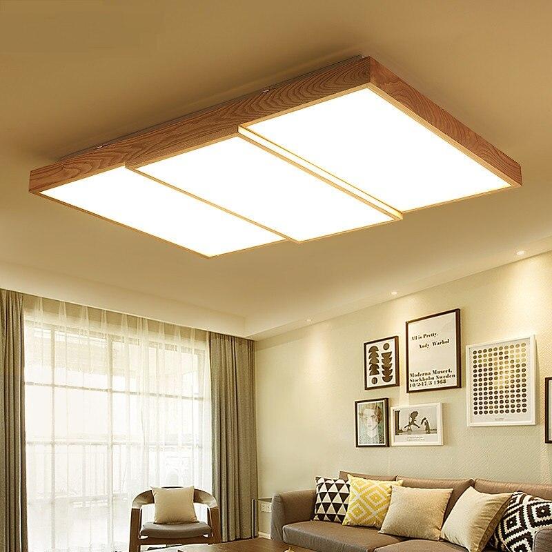 Style nordique lustre style japonais en bois massif salon chambre plafond rectangle LED dôme lumière m