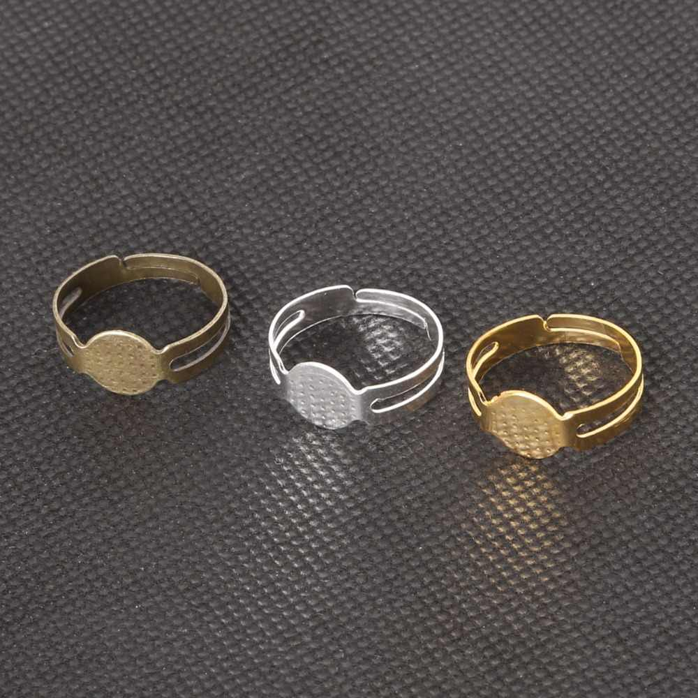 Wholesale!!! 40Pcs/pack Open Ring Circle With Pad Adjusted 18mm Flat Ring Base Gold Silver Bronze Plated For Jewelry Making