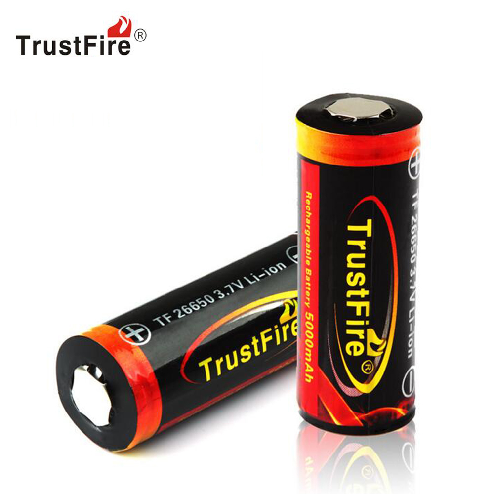 Genuine Original Trustfire 26650 Protected 5000mAh 3.7V Li-ion Rechargeable Battery 2PCS/LOT image