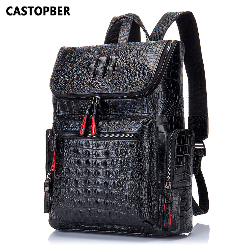 Crocodile Genuine Leather Men's Backpack Male Leather High Quality Student Travel Bag Men Designers Famous Brand High Quality-in Backpacks from Luggage & Bags    1