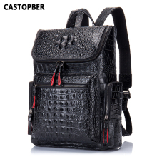 2017 New Crocodile Genuine Leather Mens Backpack Male High Quality Student Travel Bag Men Designers Famous