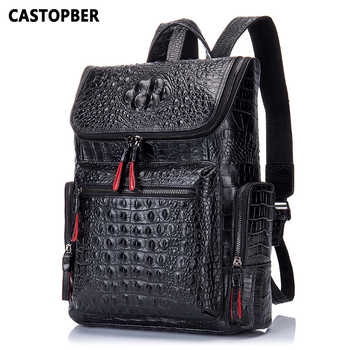Crocodile Genuine Leather Men's Backpack Male Leather High Quality Student Travel Bag Men Designers Famous Brand High Quality - DISCOUNT ITEM  49% OFF All Category
