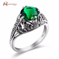 Turkish Jewelry 925 Sterling Silver Rings Retro Carving Emerald Flower Shape Crystal Engagement Rings For Women