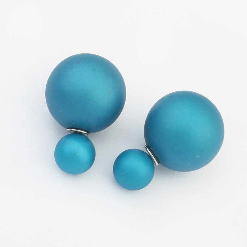 Fashion Jewelry Trendy New Design Simple double ball Earring korean 4 colors Cheap circle Stud Earrings For Woman Christmas Gift