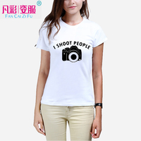 I SHOOT PEOPLE Camera Printing Fashion T Shirt Of A Woman Summer Girl T Shirts Manufacturers