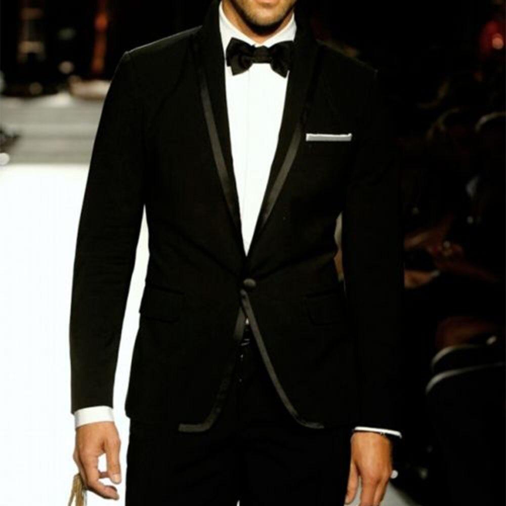 Traje personalizado a medida para hombre, esmoquin de boda negro a medida con borde de satén negro, la medida de esmoquin-in Trajes from Ropa de hombre    1