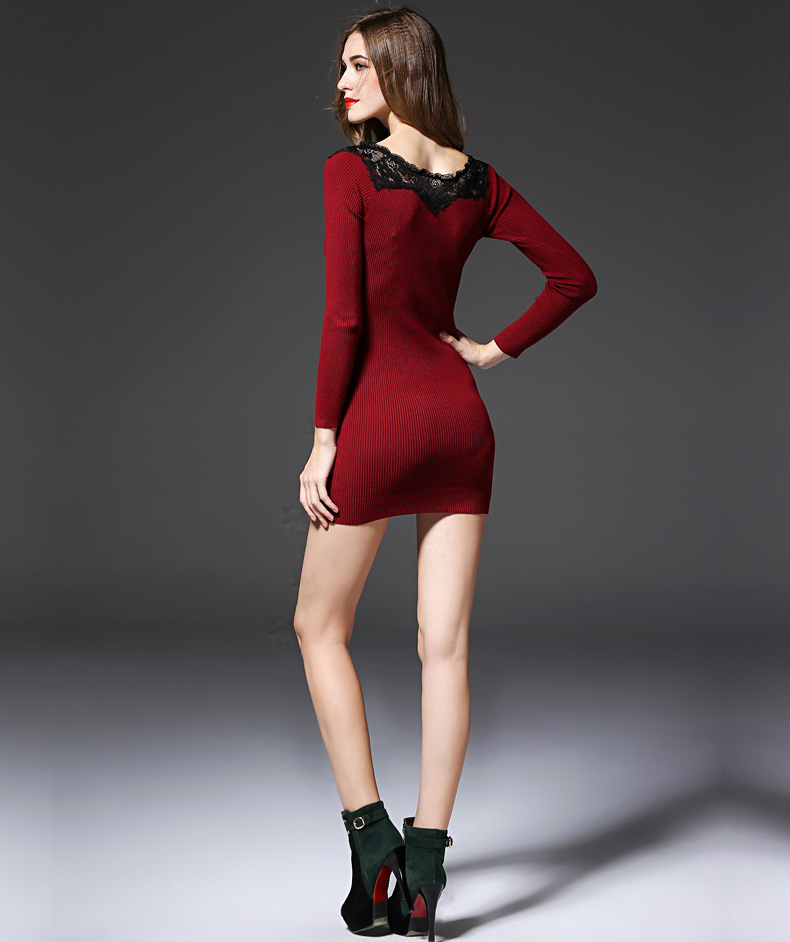 1e424eeab7ac Women Fashion Winter Dresses Long Sleeve Sheath Style Sexy Black Mini Dress  4Color vintage sweater dress vestido free shipping-in Dresses from Women s  ...