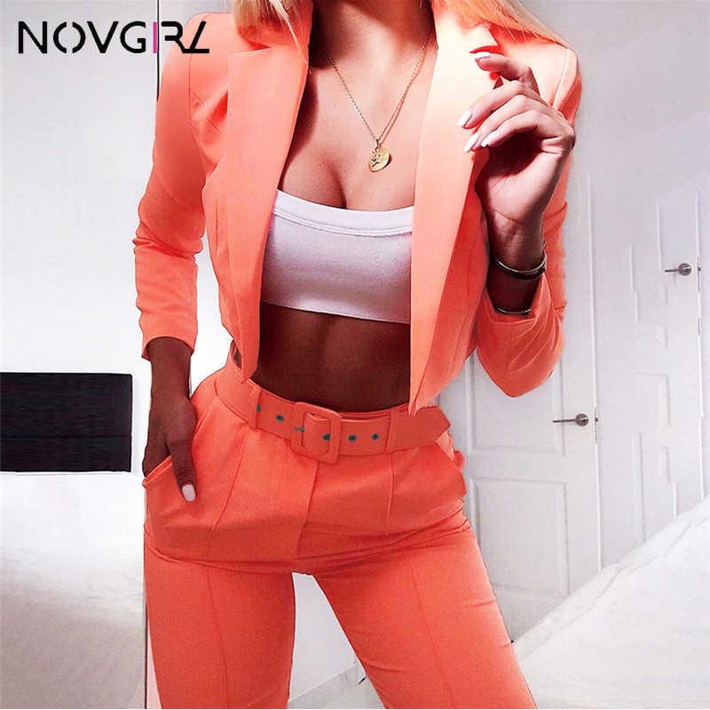 Novgirl ファッションブレザートップスストレートパンツ 2 点セット女性 2019 秋冬長袖カジュアルネオントラックスーツの衣装スーツ