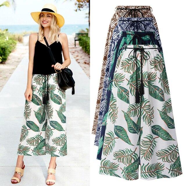 5XL 6XL Plus Size 2018 Fashion Bandage Chiffon Woman Trousers Striped Strechy Elastic Palazzo Wide Leg Pants Pantalon Femmes New