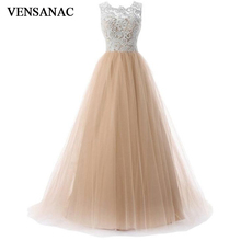 VENSANAC 2018 O Neck Embroidery A Line Long Evening Dresses Elegant Lace Tank Tulle Sweep Train Party Prom Gowns