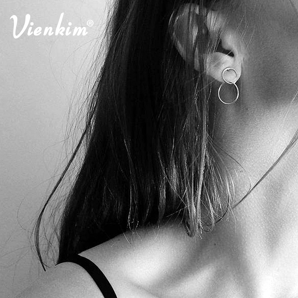 Vienkim 1 pair Geometric Round Circle Earrings for Women Metal Gold Slver Color Earing Girls Pendant Jewelry Gift monochrome