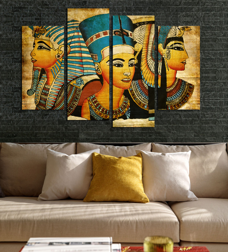 Unframed 4 Panels Home Decoration Abstract Egyptian Pharaoh Painting Printed On Canvas For Living Room Decor