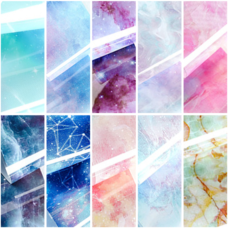 Image 5 - HNUIX 10 colours Nail art star transfer paper hot sale Rainbow sky Japanese style nail foil sticker nail polish adhesive sticker-in Stickers & Decals from Beauty & Health