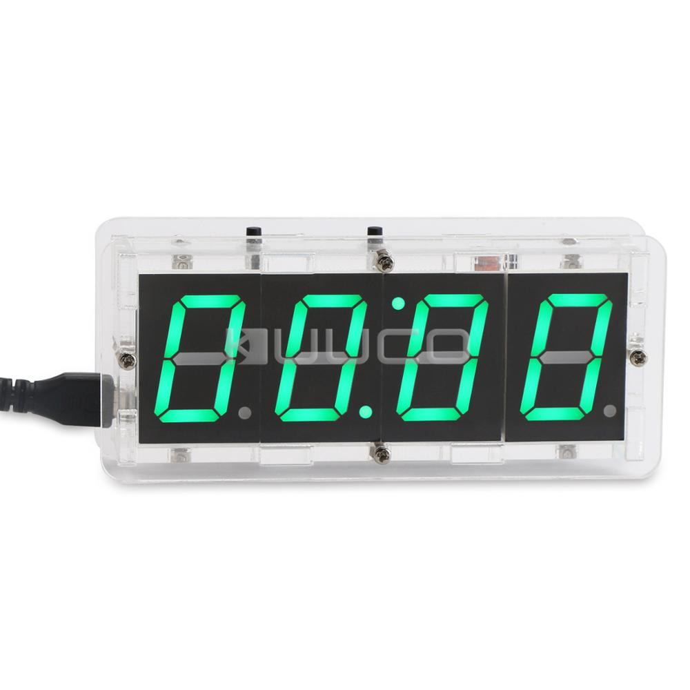 Electronic Clock 4 Bits Digital Tube Display Clock Digital Thermometer USB Time/Temperature Panel Meter 2in1 24 hour digital clock yellow led display car clock digital meter panel meter adjustable clock dc 12v 24v diy time monitor tester