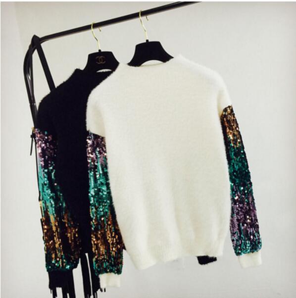 c63f46562c4 Couture Paillettes Mode Manches En white Femmes Chandails Chandail Manteau  2018 Étudiants Black Mince Pull ...