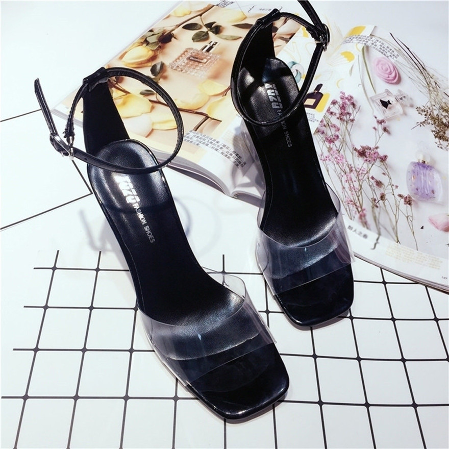 New Arrival Fashion Women Transparent Sandals Ankle High Heels Block Party Open Toe Shoes Zapatos Mujer sandales femme 2018 new rhinestone women sandals ankle buckle strap fashion open toe comfortable chunky high heels red black shoes zapatos mujer