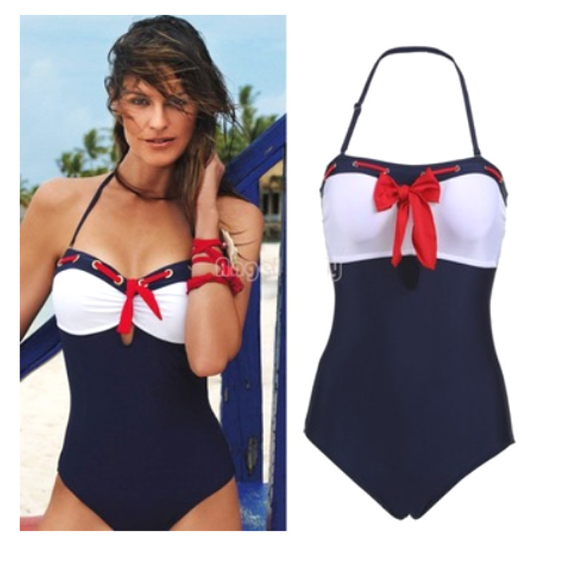 High Quality Plus Size Swimwear Women 2015 Patchwork Color Bow One Piece Swimsuit Vintage Top Bathing Suit Monokini Hot Sale