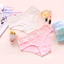 New Summer Sexy Cute Bows Lace Girls Underwear Freshness Pure Cotton Comfortable Panties Mid-Rise Candy Color Briefs C006