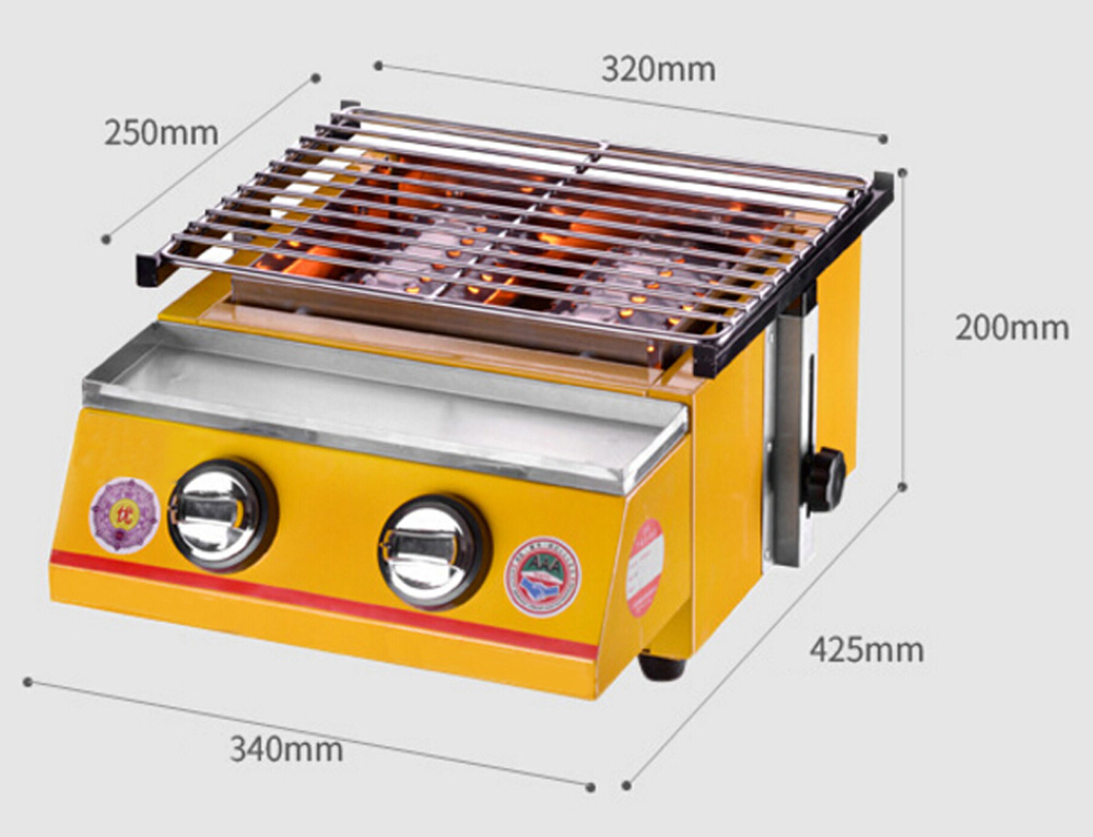 Stainless Steel BBQ Grill, Gas Barbecue Portable Flat Environmental for Outdoor Picnic Adjustable Height Free Shipping Infrared
