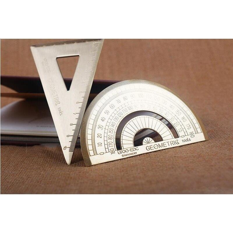 Vintage Brass Triangular Graphometer Ruler for School Copper Metal Tackle LG