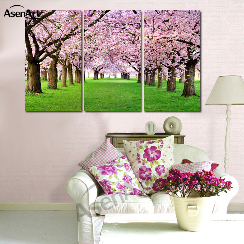 Wandkunst Schöne Blume Sakura Bilder 3 Panel Ölgemälde Leinwand ...