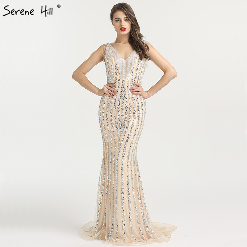 72c130fe3f14 2019 Luxury Sparkle Sleeveless Mermaid Evening Dresses Beading Sequined  Backless Sexy Fashion Evening Gowns Serene Hill LA6357 ~ Free Delivery July  2019