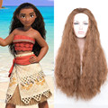 New Movie Moana Wig Synthetic Long Brown Curly Synthetic Hair Halloween Cheap Cosplay Wig for Black Women+a wig cap