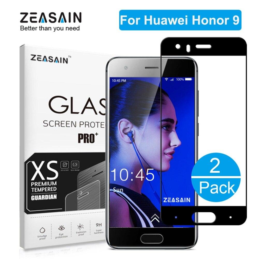 2 Paket Original ZEASAIN 2.5D 9 H Volle Abdeckung Ausgeglichenes Glas-schirm-schutz Für Huawei Honor 9 Honor9 Schutzglas Film