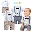 2016 мальчиков летней одежды новорожденный мальчик ползунки одежда хлопка с коротким рукавом комбинезон хаки решетки джентльмен костюмы