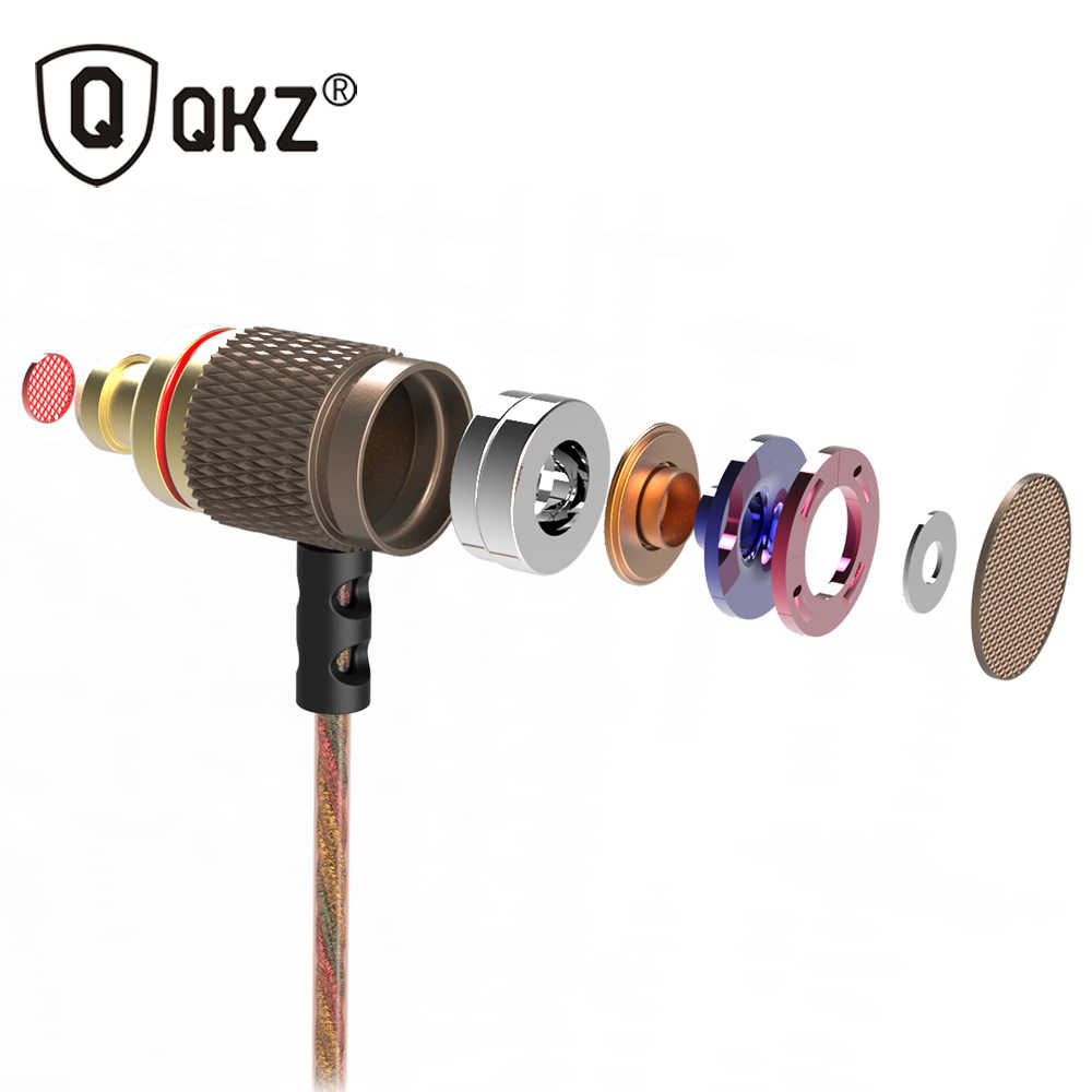 QKZ DM6 אוזניות חובב בס באוזן אוזניות נחושת זיוף 7 MM מזעזע נגד רעש מיקרופון קול באיכות fone דה ouvido