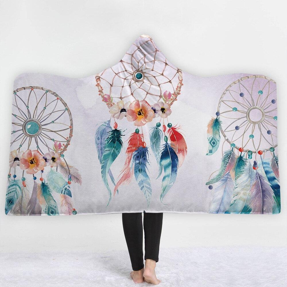 mylb dreamcatcher hooded blanket for adults sherpa fleece butterfly bohemian wearable throw. Black Bedroom Furniture Sets. Home Design Ideas
