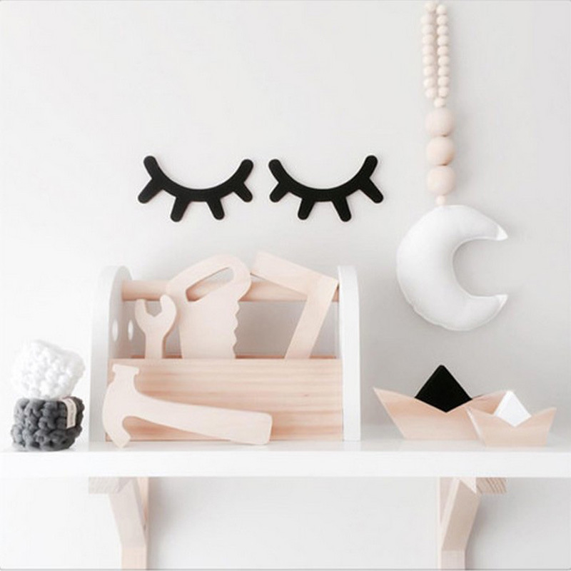3D Eyelash Nordic Style Cute Wood Wall Decor Eye Lash Wall Stick Children Kids Baby Room Selfadhesive Background Home Decoration(China)