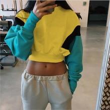 Mr.nut fashion sports stitching candy color navel hoodies women  Streetwear  O-Neck  harajuku  hoodies