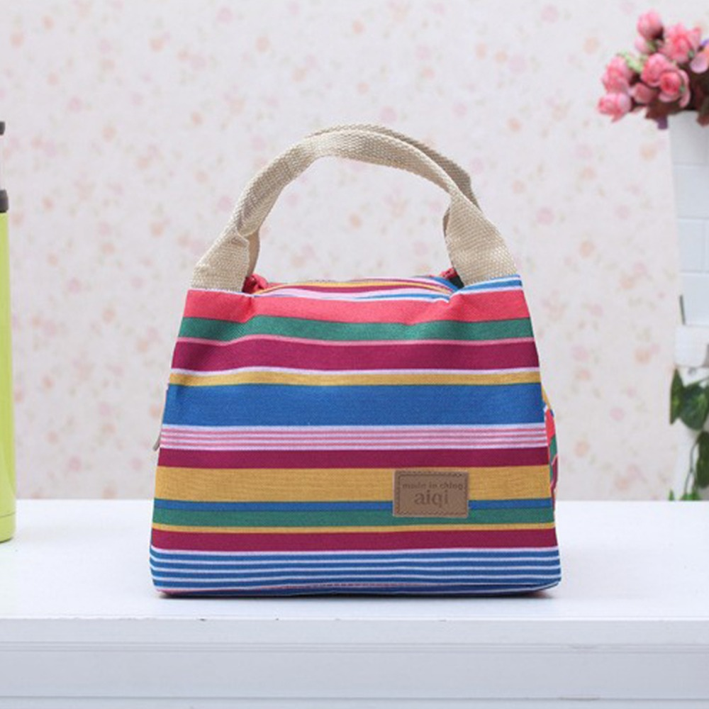 Women Portable Lunch Bag Canvas Stripe Insulated Cooler Bags Thermal Food Picnic Lunch Bags Kids Lunch Box Bag Tote sannen 7l double decker cooler lunch bags insulated solid thermal lunchbox food picnic bag cooler tote handbags for men women