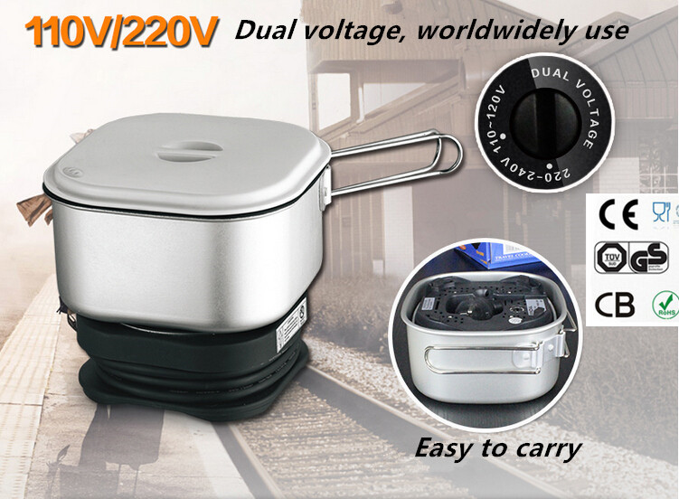Dual Voltage Wordwidely Use Travel Cooker Portable Mini Electric Rice Cooking Machine Hotel Student Room