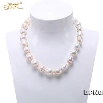 """JYX Elegante Multicolor Unregelmäßige Barock Süßwasser Perle 11-15mm Weiß Barock Süßwasser Zuchtperlen Halskette 18 """"frauen"""