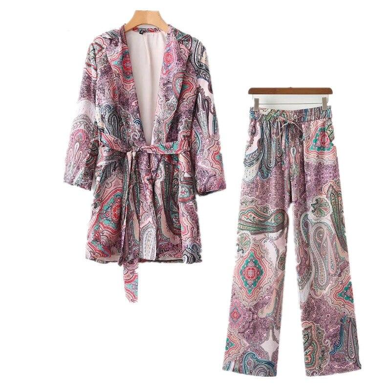 2 Piece Set Women Suit Female 2019 Ethnic Style Lazy Pajamas Wind Holiday Clothing Jacket + High Waist Wide Leg Pants Suit