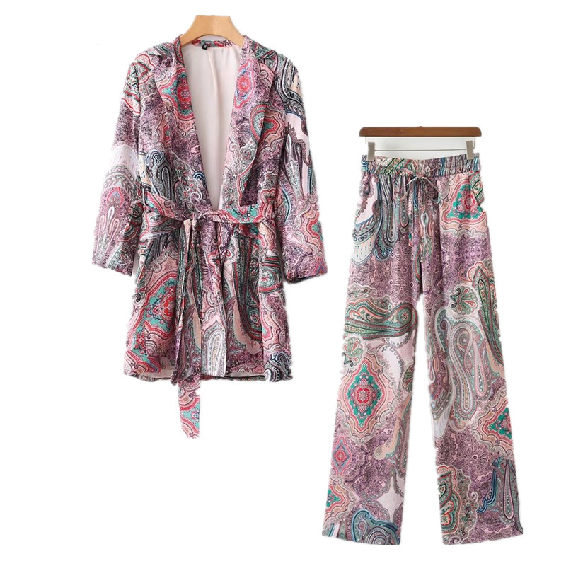 2 Piece Set Women Suit Female 2020 Ethnic Style Lazy Pajamas Wind Holiday Clothing Jacket + High Waist Wide Leg Pants Suit