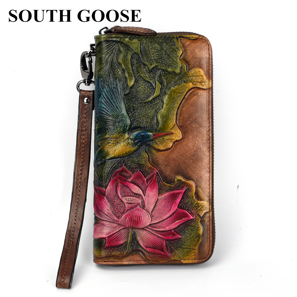 SOUTH GOOSE New Women Wallets Genuine Leather Vintage Long Clutch Handy Bag Female Printing Floral Card Purse Large Money Clips