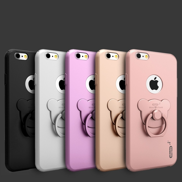 big sale c010a 4b8a8 US $4.99 |for iphone 6 6s Plus Case Original Slim Glossy with Cute Bear  Ring Stent Stand Holder Cover for Apple iphone6 4.7 5.5 Logo Hole on ...