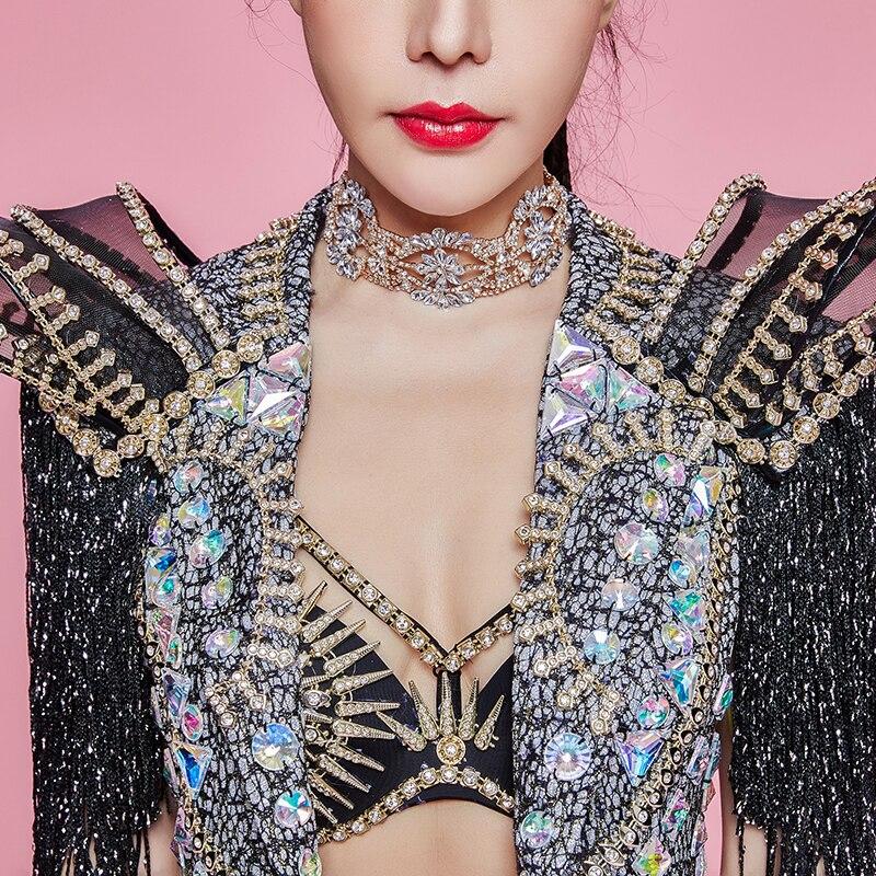 Femmes Star chanteur Concert Performance vêtements brillant strass glands Long manteau cristaux Bikini discothèque spectacle scène Costume - 5