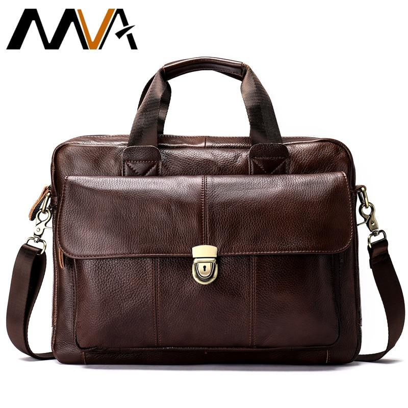 MVA men s briefcase bag men s genuine leather laptop bag business tote for document office