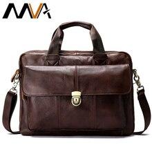 MVA erkek evrak çantası erkek hakiki deri laptop çantası iş tote belge ofis taşınabilir dizüstü omuzdan askili çanta 315