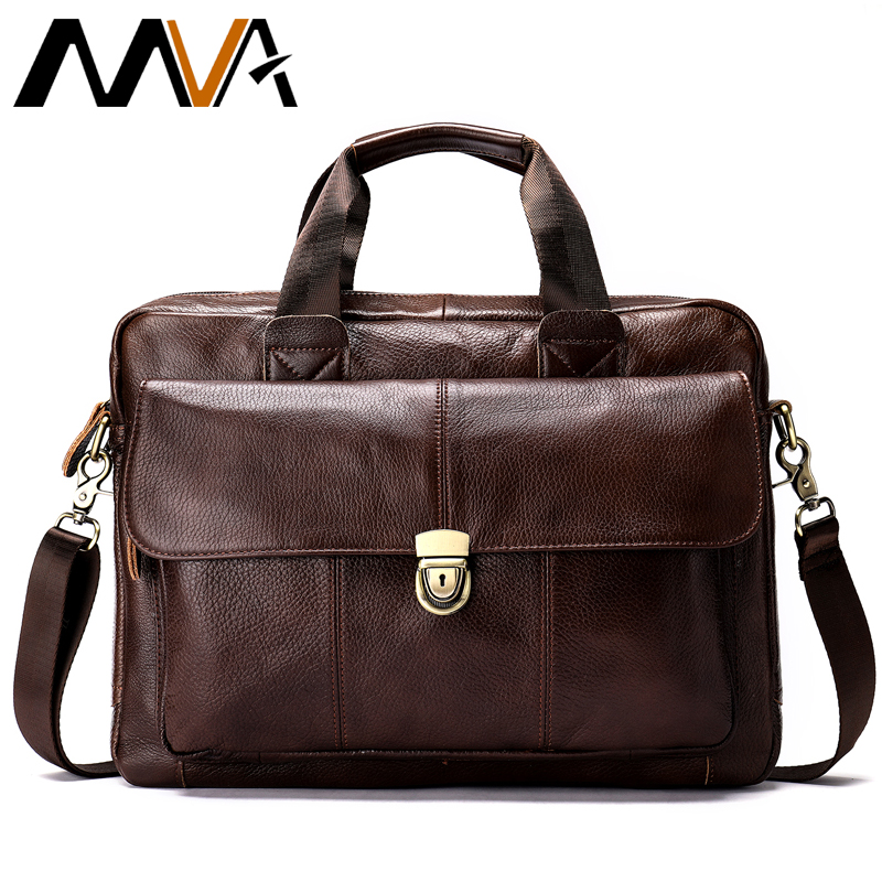 MVA mens briefcase bag mens genuine leather laptop bag business