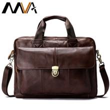MVA mens briefcase bag mens genuine leather laptop bag business tote for document office portable laptop shoulder bag 315