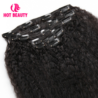 Hot Beauty Hair Full Head Clip In Human Hair Extensions Kinky Straight Hair Clip Ins 120G 7 Pcs/Set Brazilian Remy Hair 10~26