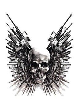 Cráneo pistola espada Punk tatuaje temporal grande pegatina impermeable hombres adultos mujeres hombro falso tatuajes 15X11cm