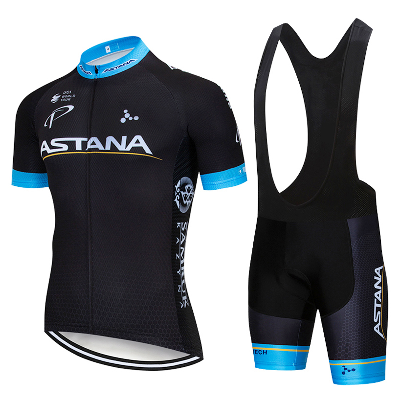 New arrival Black ASTANA Cycling jersey 9D gel pad bike shorts Ropa Ciclismo mens summer quick dry PRO BICYCLING Maillot Culotte